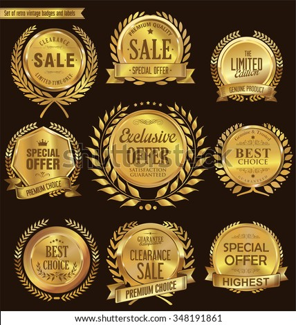 Quality golden medallion with laurel wreath collection - stock vector