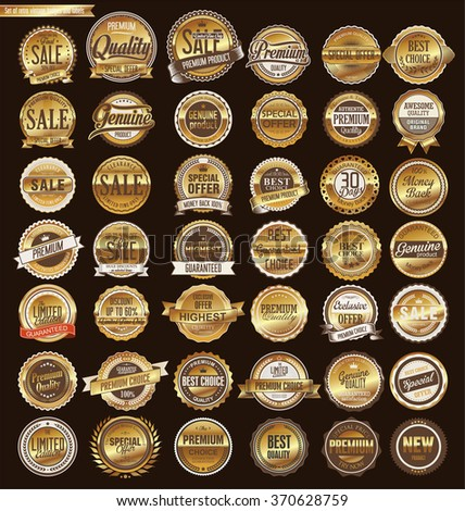 Quality golden retro vintage badges and labels collection - stock vector