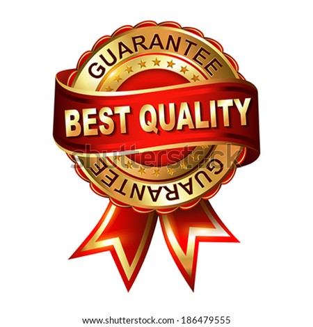 Quality guarantee golden label with ribbon.  Vector illustration. - stock vector