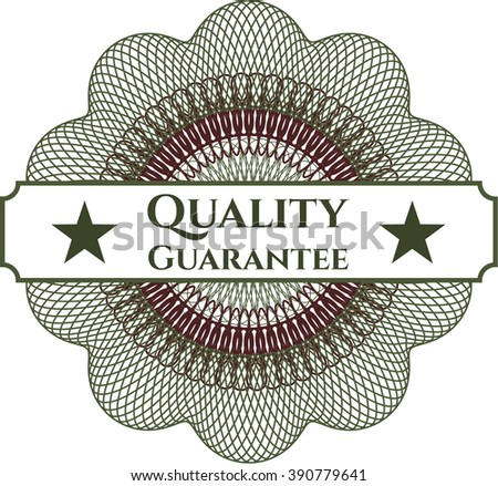 Quality Guarantee written inside a money style rosette - stock vector