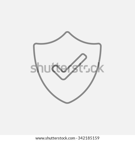 Quality is confirmed sign line icon for web, mobile and infographics. Vector dark grey icon isolated on light grey background. - stock vector