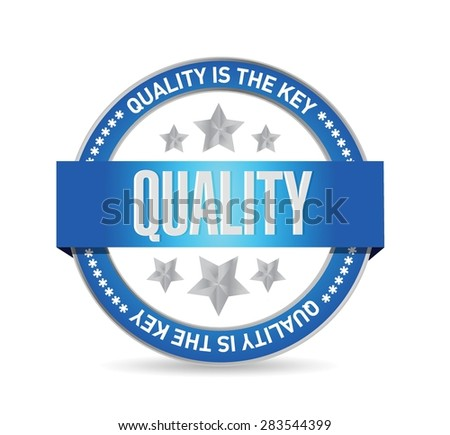 quality is the key seal sign concept illustration design over white - stock vector
