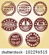 quality label, high quality label, best seller label, original label, 2 year warranty label, 1 year warranty, best quality label, best product label (set of 8 badges, labels and rubber stamp) - stock photo