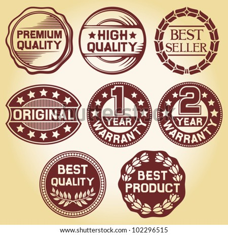 quality label, high quality label, best seller label, original label, 2 year warranty label, 1 year warranty, best quality label, best product label (set of 8 badges, labels and rubber stamp) - stock vector