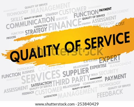 Quality of Service word cloud, business concept - stock vector