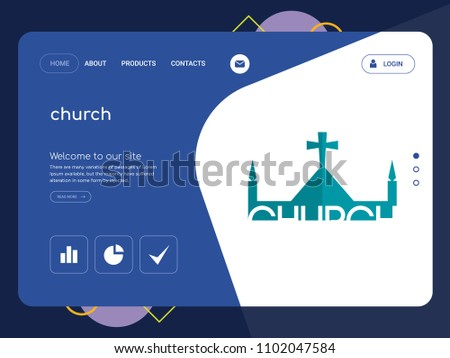 Quality One Page Church Website Template Stock Vector 1102047584