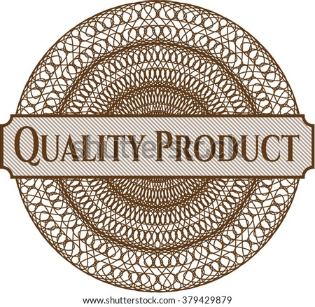 Quality Product inside money style emblem or rosette - stock vector