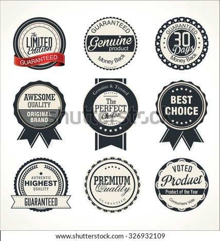 Quality retro badge collection - stock vector