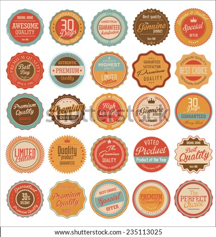 Quality retro vintage badges - stock vector