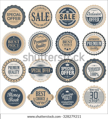 Quality retro vintage badges collection - stock vector