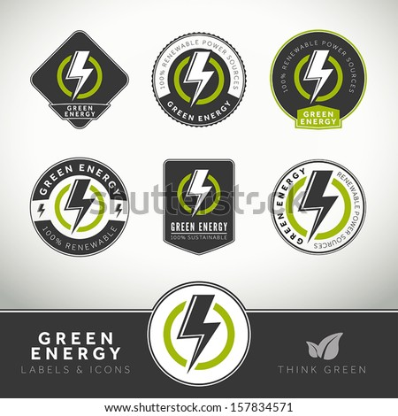 Quality set of green energy icons, labels and badges for eco-friendly presentations