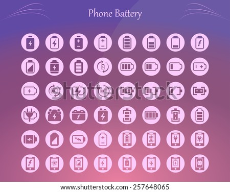 Quality vector icon set (Phone Battery, Charging, Indicator, Discharged, Energy)  - stock vector