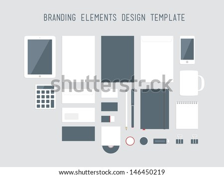 Quality vector set in modern flat design of corporate style branding design with a variety of blank office objects for your presentation. Isolated on light gray background - stock vector