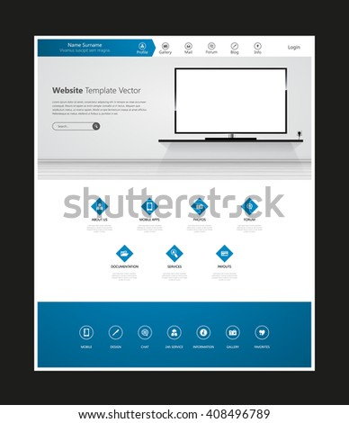 Quality Website Template Vector Eps10, Modern Web Design with flat UI elements and led tv mockup. Ideal for Business layout - stock vector