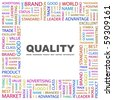 QUALITY. Word collage on white background. Illustration with different association terms. - stock vector