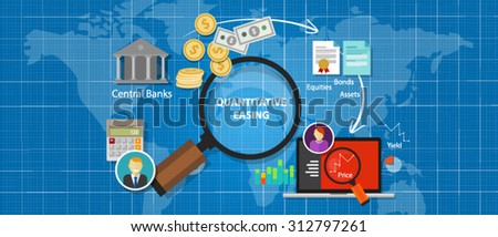 quantitative easing financial concept monetary stimulus money economic - stock vector