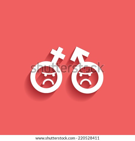 quarrel people, flat icon isolated on a red background for your design, vector illustration - stock vector