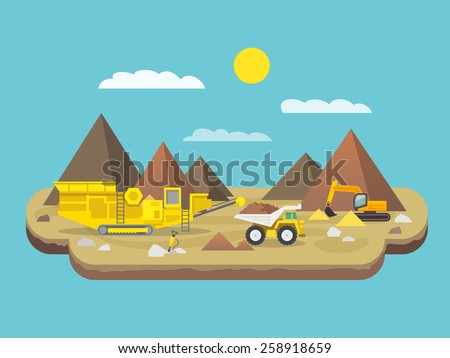 Quarry flat poster with excavator and industrial machinery on mountain background vector illustration - stock vector