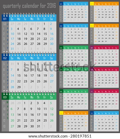 quarterly calendar for the 2016 year for print