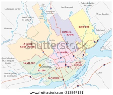 Quebec City Road Administrative Map Stock Vector - Quebec city canada map
