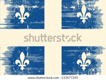 Quebec grunge flag.  A grunge flag of Quebec with a texture - stock vector