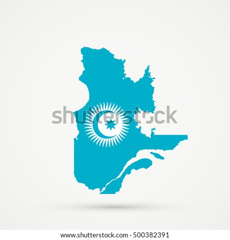 Quebec map in Turkic Council flag colors, editable vector.