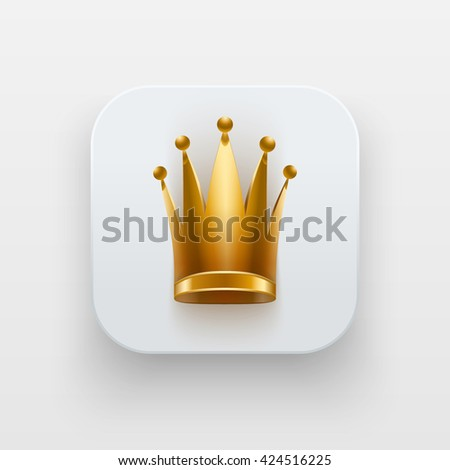Queen icon. Luxury Symbol of Crown on light backdrop with shadow. Vector Illustration Isolated on background - stock vector