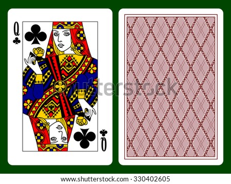Queen of Clubs playing card and the backside background. Original design. Vector illustration - stock vector