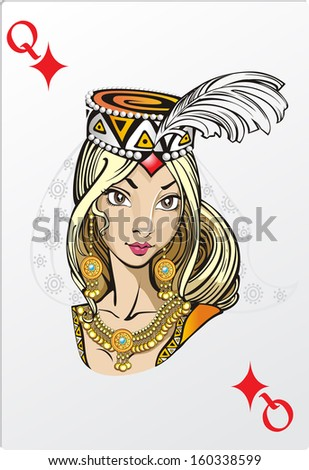 Queen of diamonds. Deck romantic graphics cards - stock vector