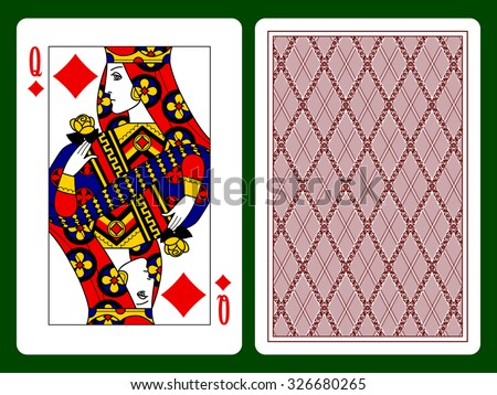 Queen of Diamonds playing card and the backside background. Original design. Vector illustration - stock vector
