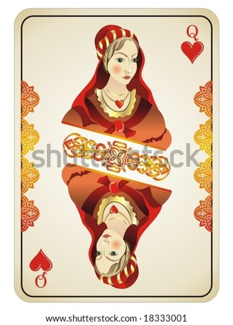 Queen of Hearts from deck of playing cards - stock vector