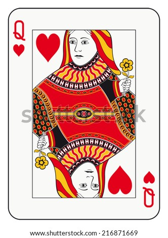 Queen of hearts playing card - stock vector