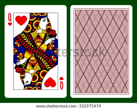 Queen Of Hearts Playing Card And The Backside Background Faces Double Sized Original Design
