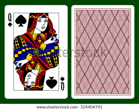 Queen of Spades playing card and the backside background. Vector illustration - stock vector