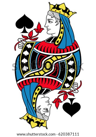 Queen Of Spades Without Card Frame Design Inspired By French Tradition