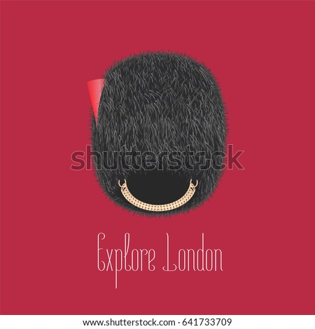 Queens Guard Beefeater Traditional Hat Vector Illustration Concept Design For Travel To London