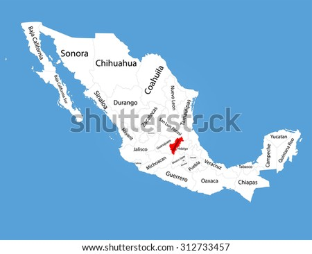 Queretaro Mexico Vector Map Silhouette Isolated Stock Vector HD