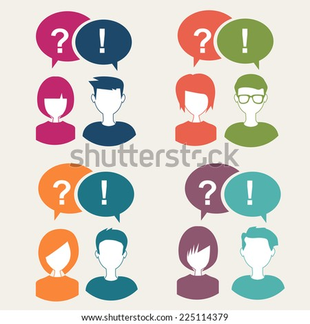 question and answer with people icons set - stock vector