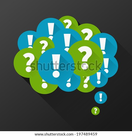 Question and answers as thought bubble - stock vector