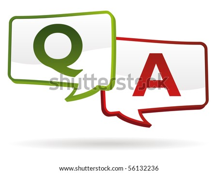 question answer chat balloons in colors - stock vector