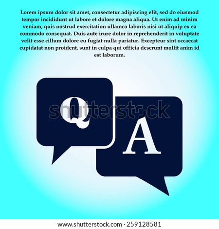 Question answer icon. Q&A sign symbol. Speech bubbles with question and answer. - stock vector