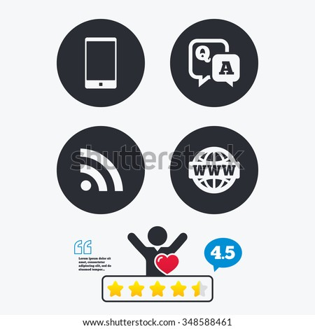 Question answer icon.  Smartphone and Q&A chat speech bubble symbols. RSS feed and internet globe signs. Communication Star vote ranking. Client like and think bubble. Quotes with message. - stock vector