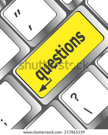 question button on computer keyboard keys - stock vector