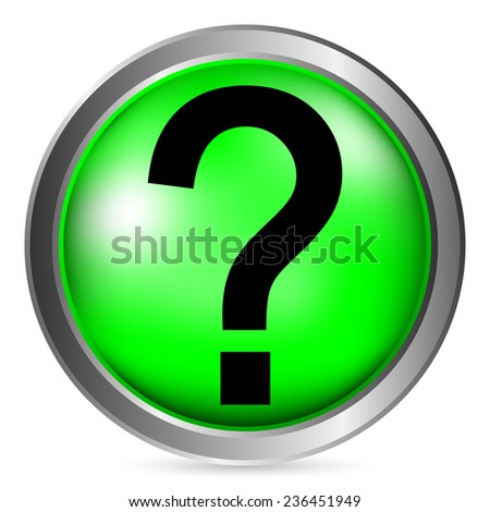 Question button on white background. Vector illustration.