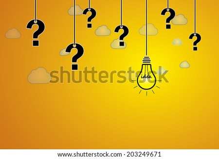 question mark & bright yellow light bulb with idea text hanging - stock vector