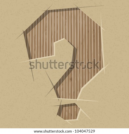 Question mark  cut out on a cardboard. Vector paper alphabet - stock vector
