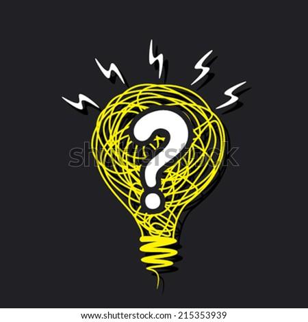 question mark in the sketch bulb concept vector - stock vector