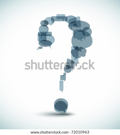 Question mark made from blue speech bubbles - stock vector