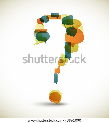 Question mark made from blue speech bubbles with retro colors - stock vector