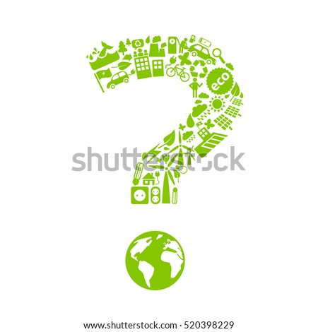 Question mark made of little ecology icons isolated on white background.